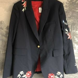 Zara Navy Blue Floral Embroidered Blazer Size XL